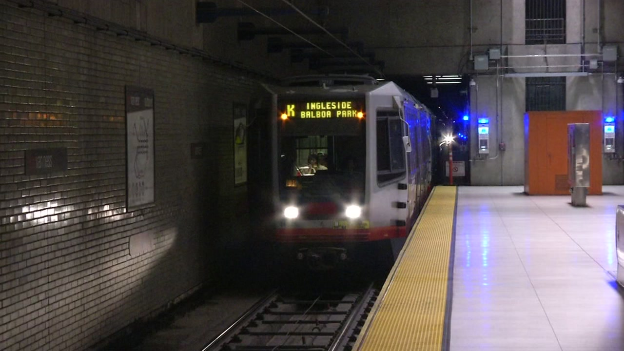 A Muni car is seen in a subway in San Francisco in this undated image.