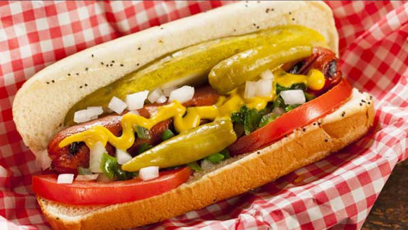 Chicago-style hot dog.