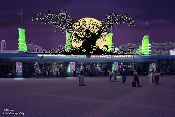 Oogie Boogie's silhouette greets visitors in an artist rendering of Halloween Time at Disney's California Adventure park.