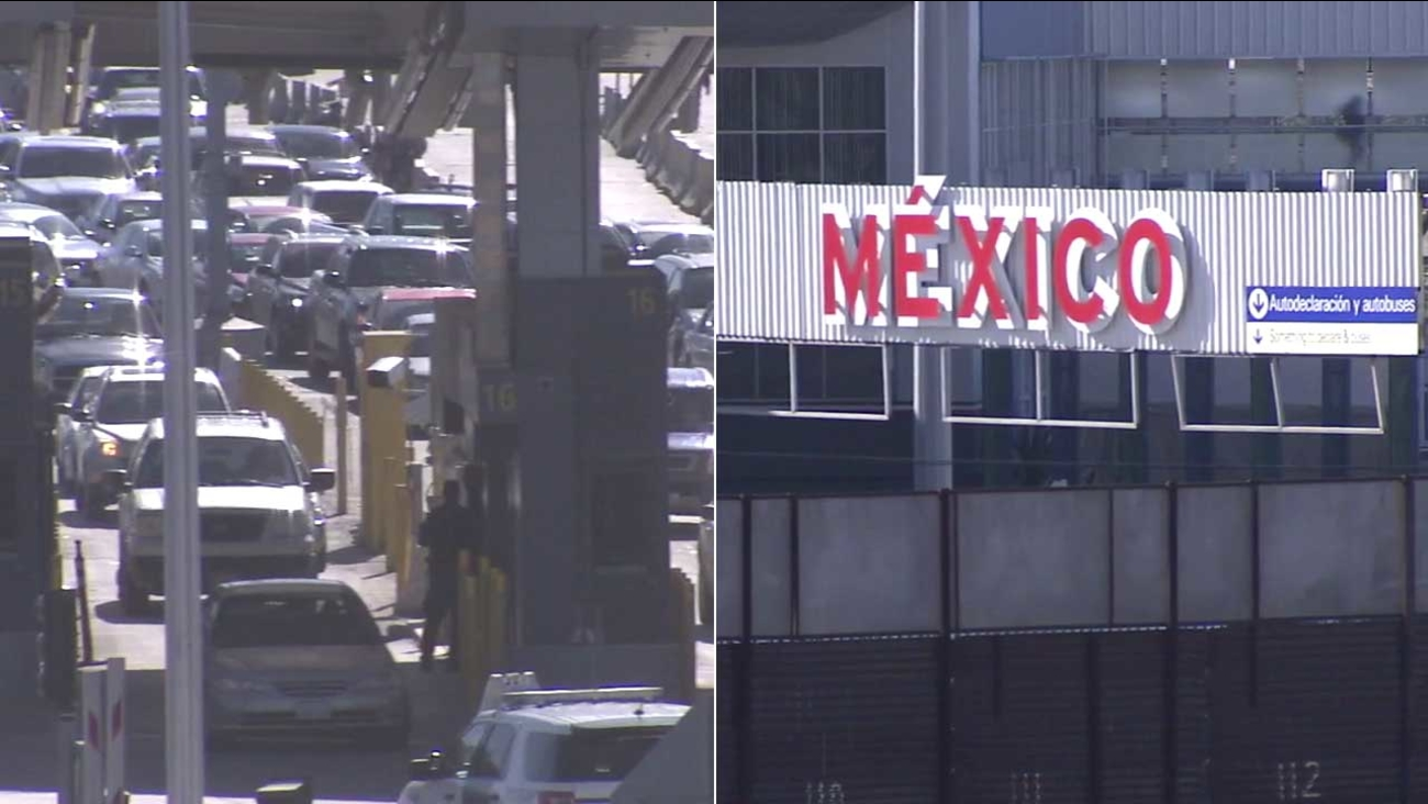 File images show a Mexico border crossing.