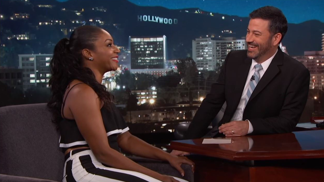 "Tiffany Haddish is seen with host Jimmy Kimmel during an appearance on ""Jimmy Kimmel Live."""