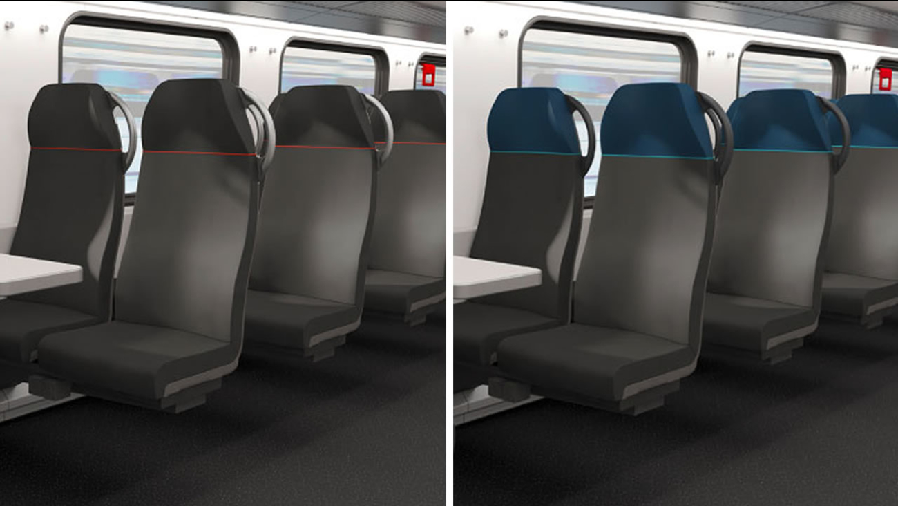 These undated images show the seat colors for Caltrain's new cars.