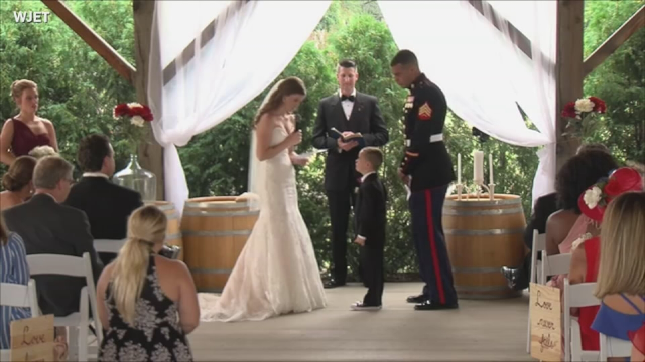 Marines Son Cries In New Stepmoms Arms While They Exchange Vows
