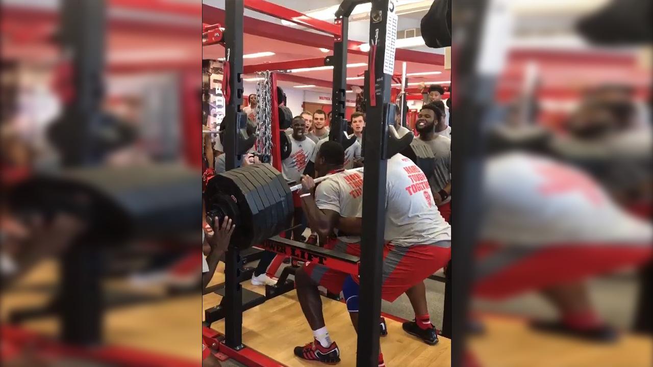 Defensive lineman, Kentavius Street, squats 700 pounds.