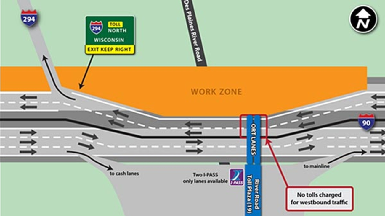 Jane Addams Tollway work to shift all traffic to EB side ...