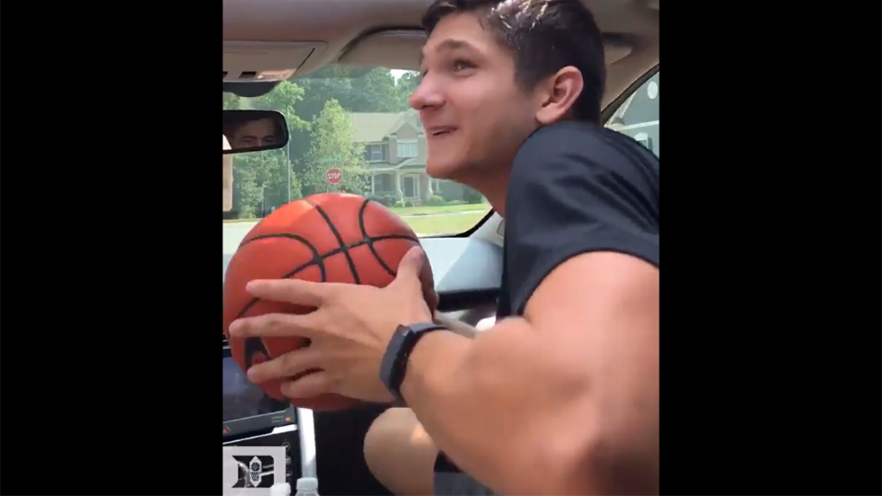 Grayson Allen ready to do it up in the Drive-by-Dunk Challenge.