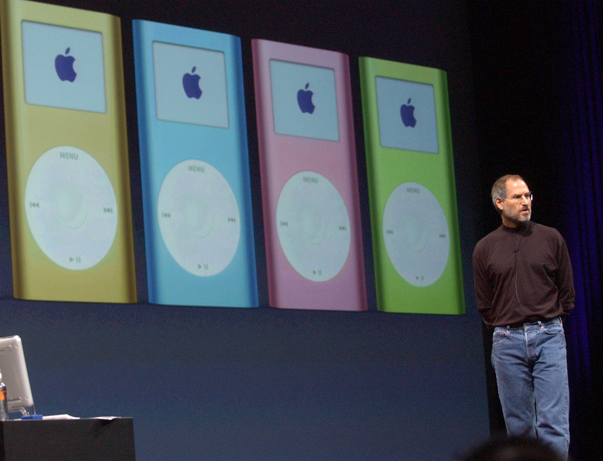 <div class='meta'><div class='origin-logo' data-origin='AP'></div><span class='caption-text' data-credit='AP Photo/Marcio Jose Sanchez'>Apple CEO Steve Jobs talks about his company's new product, the iPod mini, pictured in the background, at the Macworld Conference and Expo in San Francisco Tuesday, Jan 6, 2004.</span></div>