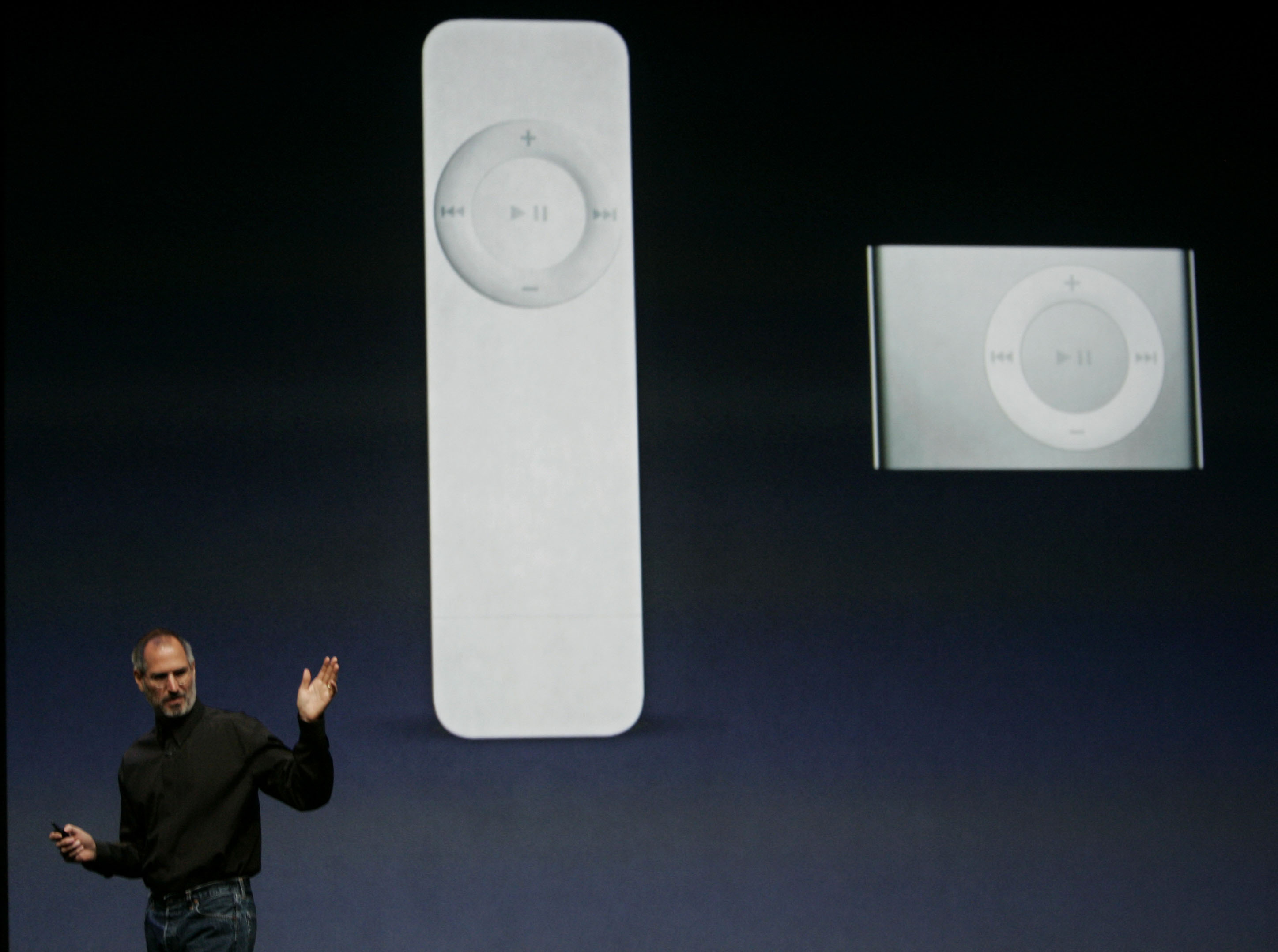 <div class='meta'><div class='origin-logo' data-origin='AP'></div><span class='caption-text' data-credit='AP Photo/Paul Sakuma'>Apple Computer CEO Steve Jobs gestures during announcement of the new iPod Shuffle, right, as the older Shuffle, left, at an Apple event in San Francisco, Tuesday, Sept. 12, 2006.</span></div>