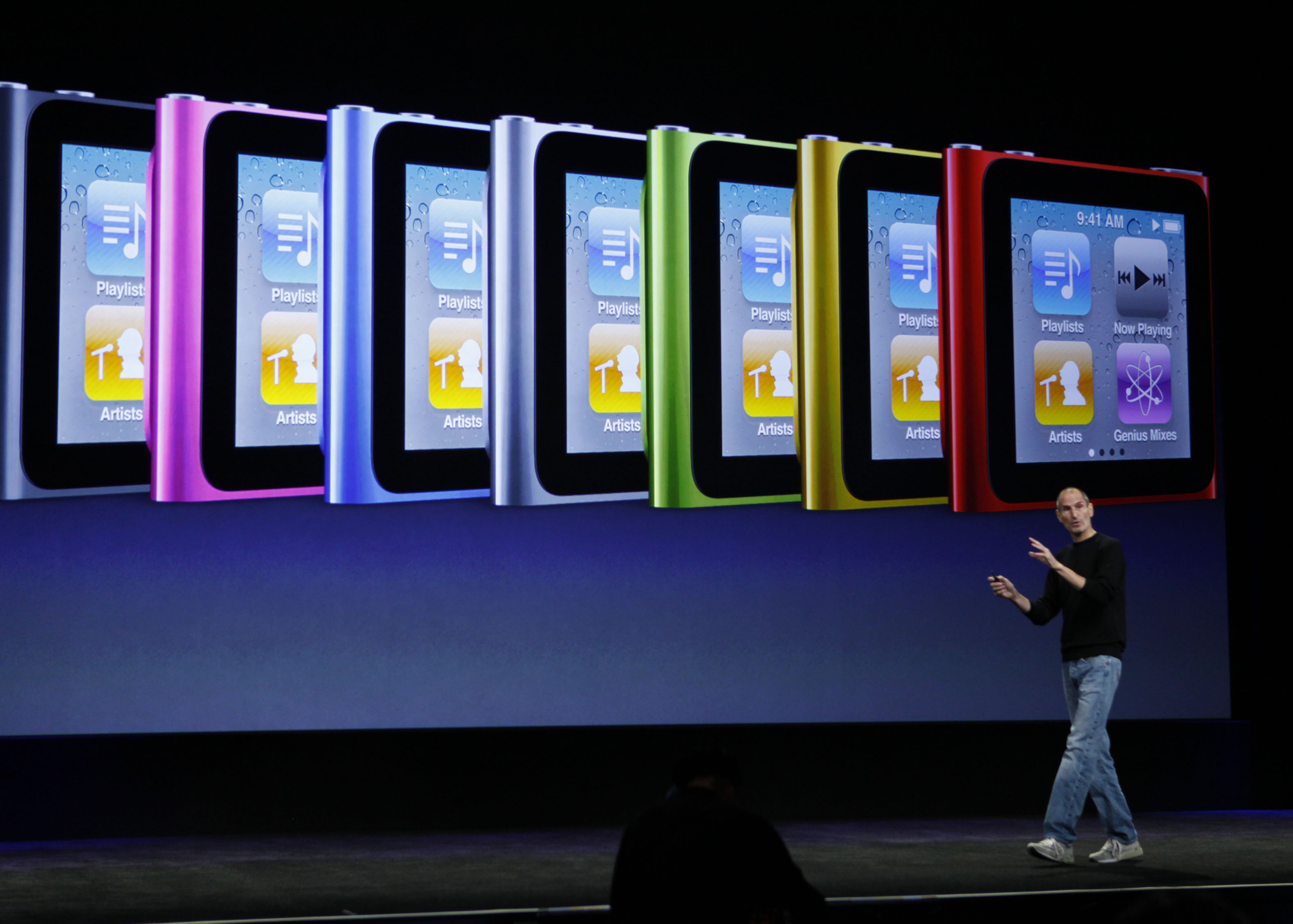 <div class='meta'><div class='origin-logo' data-origin='AP'></div><span class='caption-text' data-credit='AP Photo/Paul Sakuma'>Apple CEO Steve Jobs discusses the features of the new Apple iPod Nano at a news conference in San Francisco, Wednesday, Sept. 1, 2010.</span></div>
