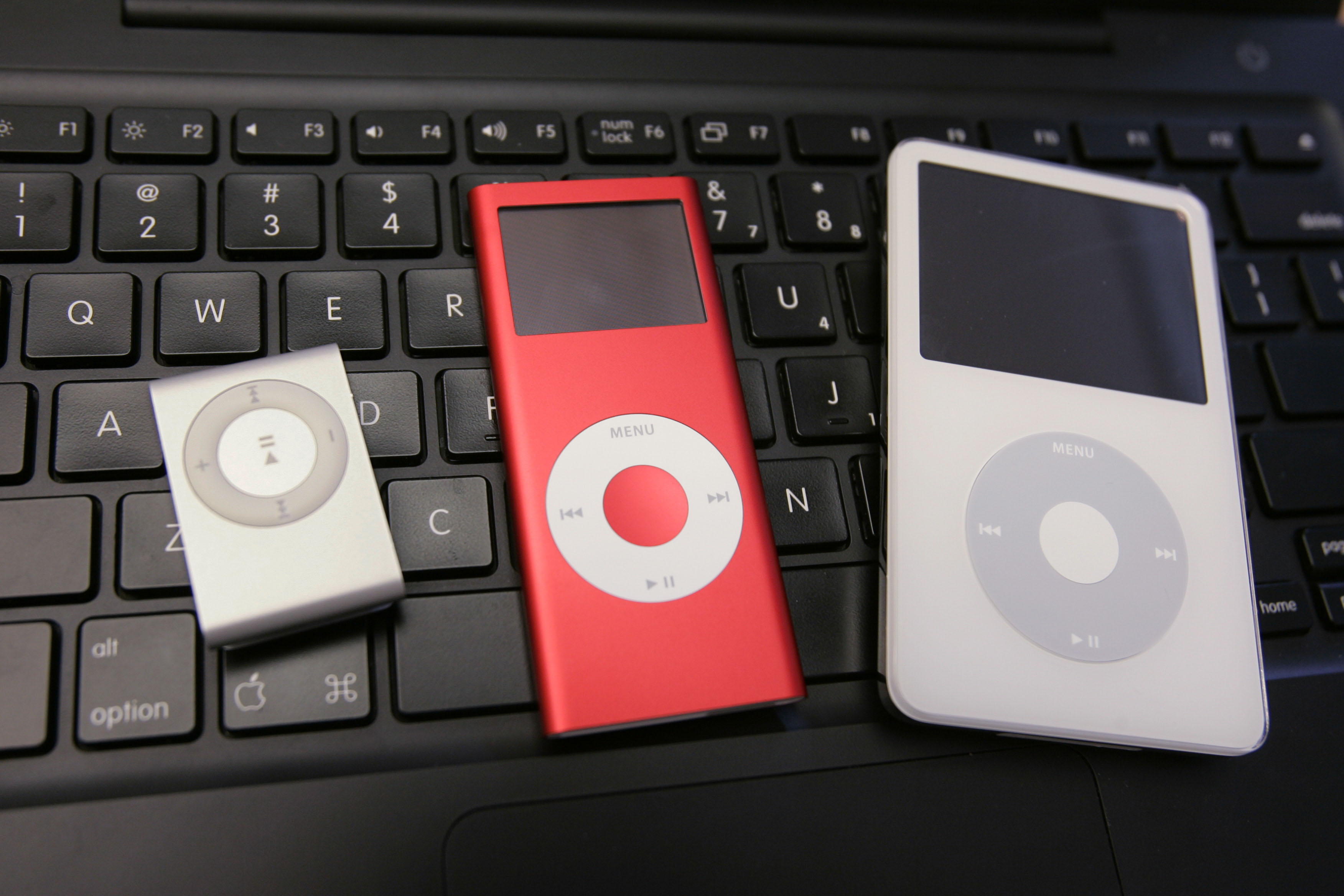 <div class='meta'><div class='origin-logo' data-origin='AP'></div><span class='caption-text' data-credit='AP Photo/Paul Sakuma'>The new Apple iPod Shuffle, left, is shown next to a Red iPod Nano, center, and 60GB iPod, right, at an Apple store in Palo Alto, Calif., Friday, Nov. 3, 2006.</span></div>