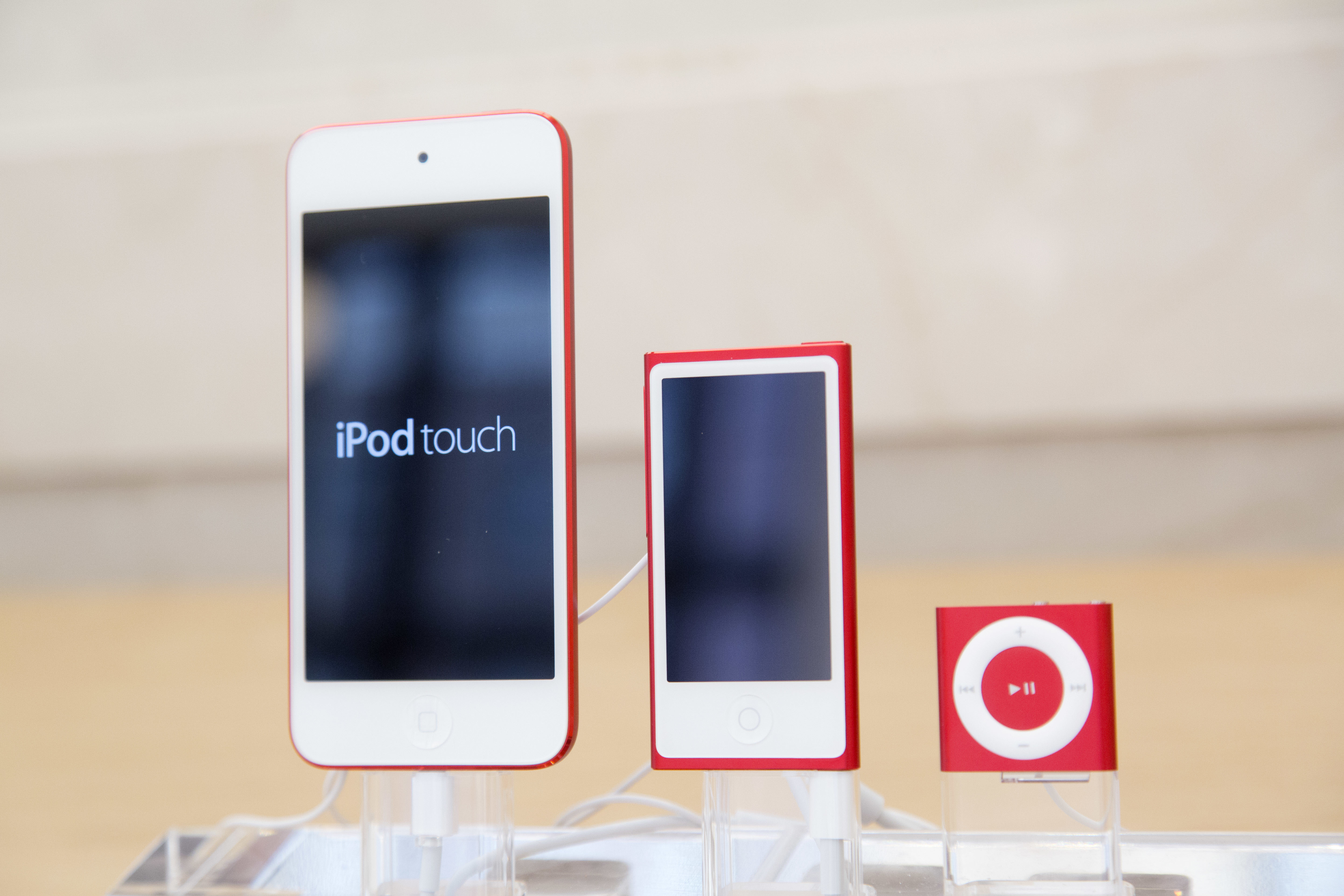 <div class='meta'><div class='origin-logo' data-origin='AP'></div><span class='caption-text' data-credit='AP Photo/Mark Lennihan, File'>In this June 11, 2015, file photo, from left, an iPod, iPod Nano and iPod Shuffle are displayed at an Apple store in New York.</span></div>