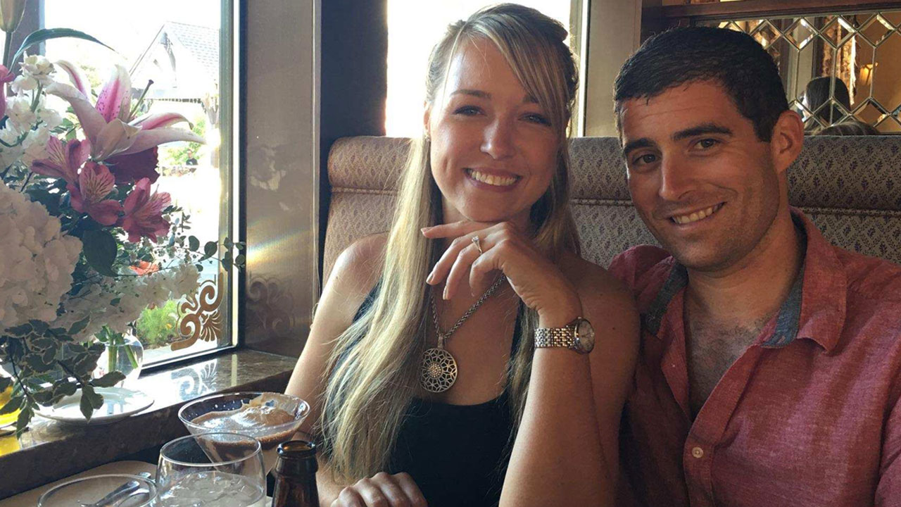 Rebecca Raymond, 28, and her fiance Brian White are shown in a photo celebrating their engagement that happened over the weekend.