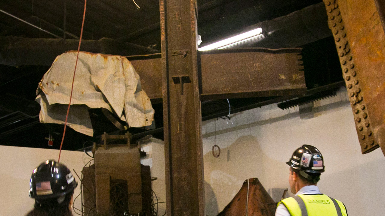 A steel cross beam recovered from the World Trade Center site and installed at the 911 Memorial Museum is seen, Thursday, June 27, 2013 in New York.