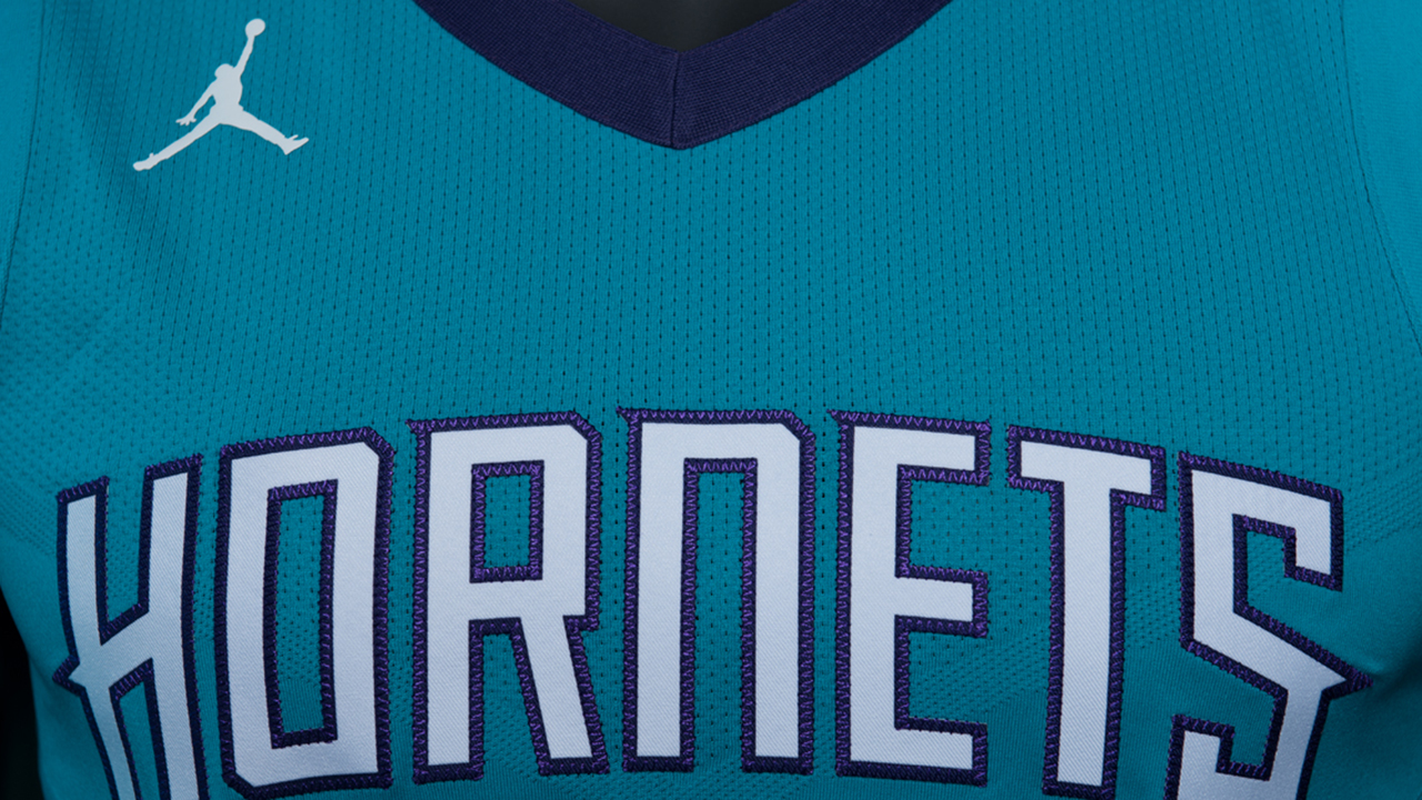 A close-up look at the Charlotte Hornets new Icon uniform.