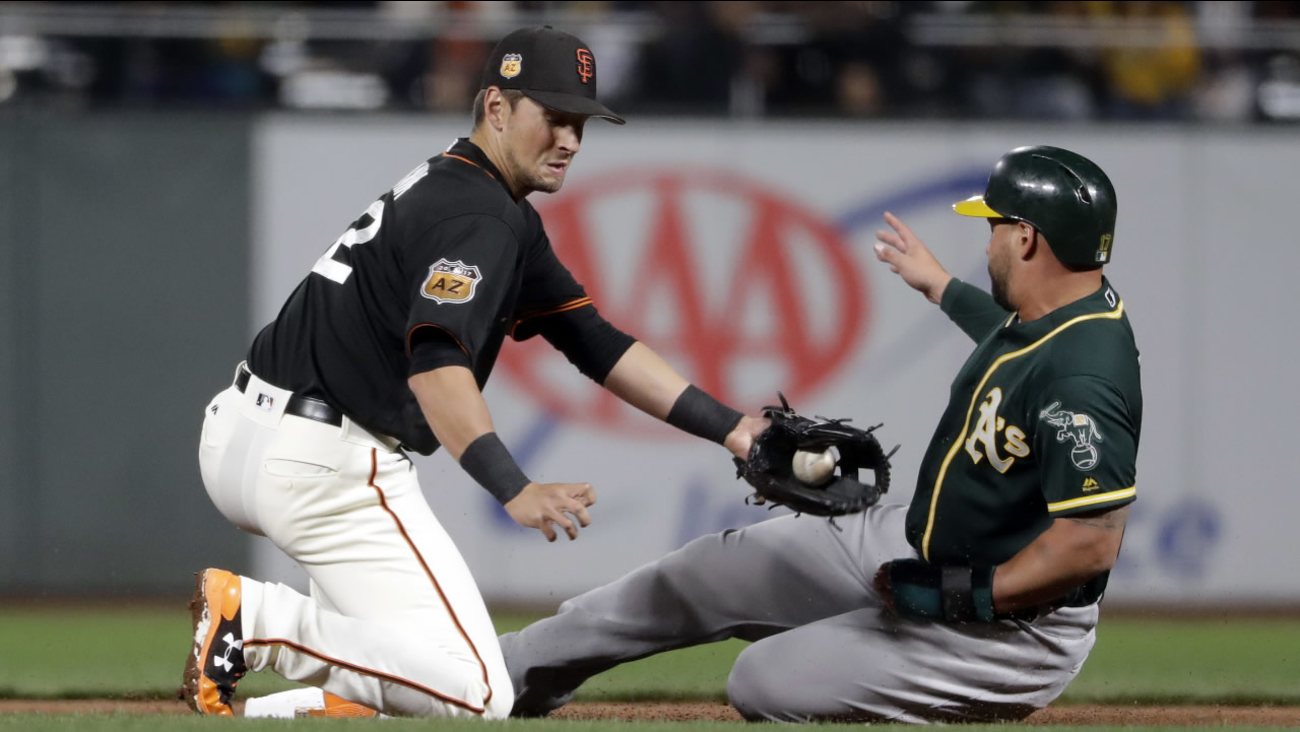 Oakland Athletics' Yonder Alonso, right, steals second base from San Francisco Giants Joe Panik during an exhibition game Friday, March 31, 2017, in San Francisco.