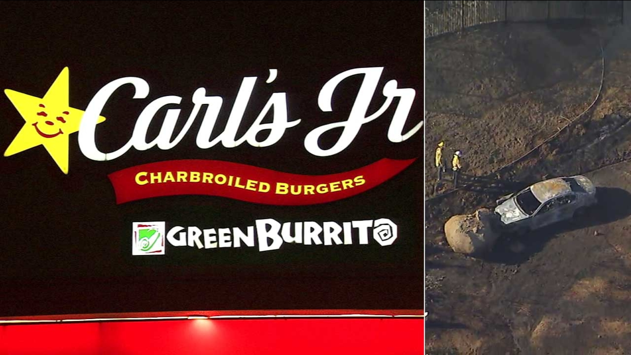 A robbery suspect held up a Riverside Carl's Jr., then tried to flee, only to crash and have his car ignite in flames on Thursday, July 27, 2017.