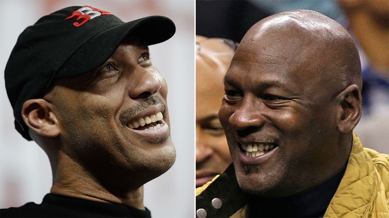 Lavar Ball, left, and Michael Jordan.