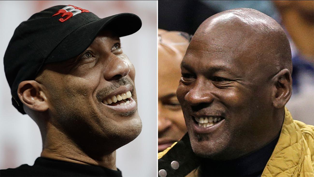 Lavar Ball, left, and Michael Jordan.