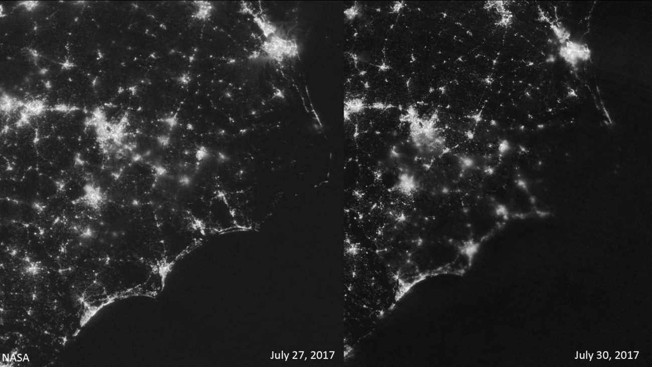 Images from July 27 and July 30 show Outer Banks power outage