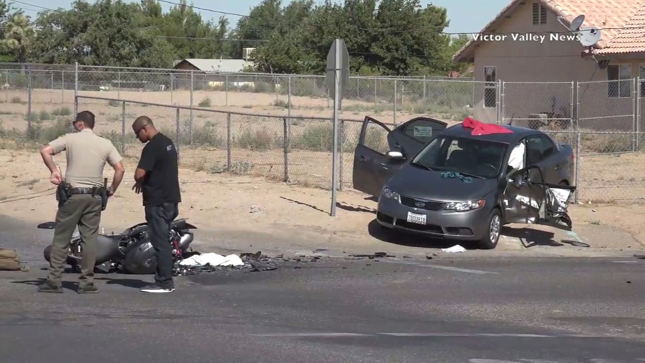 A 21-year-old man identified by friends as a Marine was killed when his motorcycle crashed into a car in Hesperia, officials said.