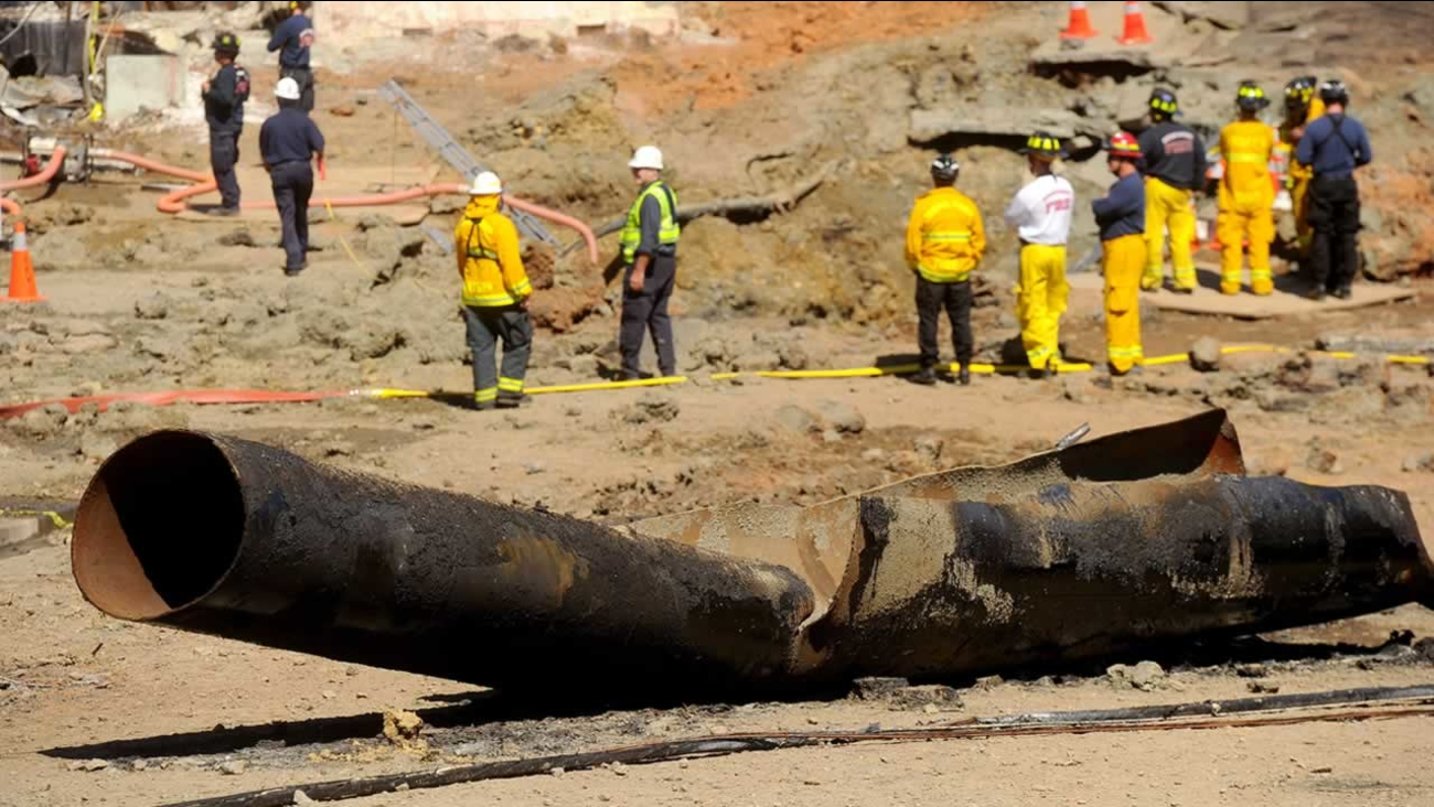 burned section of the pipeline involved in the 2010 San Bruno pipeline disaster