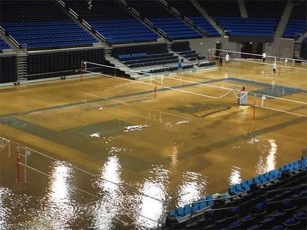"<div class=""meta image-caption""><div class=""origin-logo origin-image ""><span></span></div><span class=""caption-text"">The gym looks to have suffered considerable water damage. (Gene Blevins / Los Angeles Daily News)</span></div>"