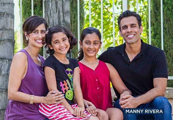 Nicole (Nikki) Brar (second from left), her sister and her parents are seen in a family photo.