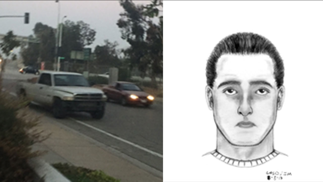 Authorities released an actual photo of the suspect's truck and a sketch of what he looks like, according to the victim's account.