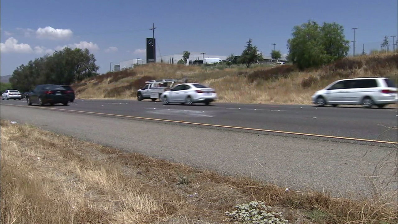 The area where Roger Whitaker, 44, died after being struck by a hit-and-run driver on the 15 Freeway in Murrieta on Wednesday, July 26, 2017.