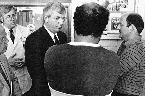 <div class='meta'><div class='origin-logo' data-origin='AP'></div><span class='caption-text' data-credit='AP Photo/Jim Zerschling'>Two unidentified relatives of victims of the Delta flight 191 crash talk with Texas Gov. Mark White, center, at Dallas' Parkland Hospital, Aug. 3, 1985.</span></div>