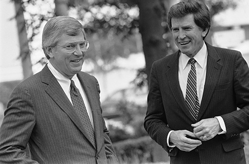<div class='meta'><div class='origin-logo' data-origin='AP'></div><span class='caption-text' data-credit='AP Photo/Ted Powers'>Presidential hopeful Gary Hart, D-Colo., visits with Texas Gov. Mark White, left, as Hart continued a two-day campaign swing through Texas, April 19, 1984 in Austin.</span></div>