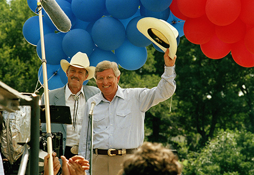 <div class='meta'><div class='origin-logo' data-origin='AP'></div><span class='caption-text' data-credit='AP'>Texas Gov. Mark White was presented July 31, 1985 with a cowboy hat replica that J.R. Ewing wears on the television show &#34;Dallas&#34;.</span></div>
