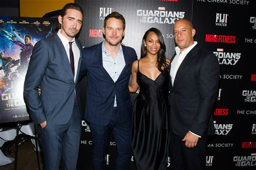 "<div class=""meta image-caption""><div class=""origin-logo origin-image ""><span></span></div><span class=""caption-text"">Lee Pace, from left, Chris Pratt, Zoe Saldana and Vin Diesel attend a screening of ""Guardians of the Galaxy"" in New York. (Charles Sykes/Invision/AP)</span></div>"