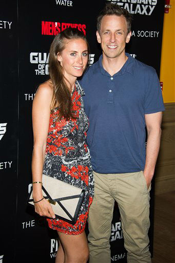 "<div class=""meta image-caption""><div class=""origin-logo origin-image ""><span></span></div><span class=""caption-text"">Alexi Meyers and Seth Meyers attend a screening of ""Guardians of the Galaxy"" in New York (Charles Sykes/Invision/AP)</span></div>"