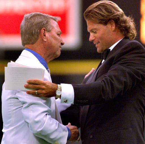 <div class='meta'><div class='origin-logo' data-origin='AP'></div><span class='caption-text' data-credit=''>Phillies broadcaster Harry Kalas is greeted by Darren Daulton during ceremonies honoring Kalas' 30th season on Saturday, July 29, 2000.</span></div>