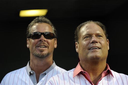 <div class='meta'><div class='origin-logo' data-origin='AP'></div><span class='caption-text' data-credit='AP'>Former Philadelphia Phillies players Mitch Williams and Darren Daulton are seen on Sunday, Aug. 4, 2013, in Philadelphia. (AP Photo/Michael Perez)</span></div>