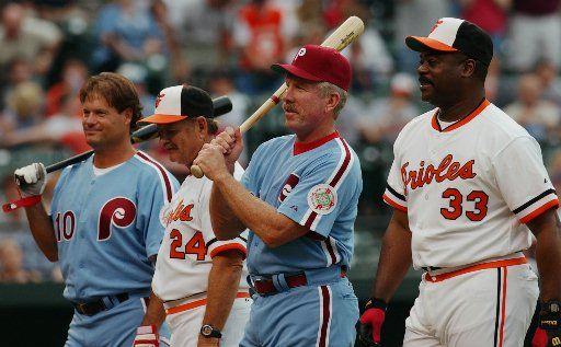 <div class='meta'><div class='origin-logo' data-origin='AP'></div><span class='caption-text' data-credit=''>1983 World Series players Darren Daulton, Rick Demsey, Mike Schmidt and Eddie Murray on June 28, 2003.</span></div>