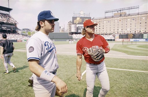 <div class='meta'><div class='origin-logo' data-origin='AP'></div><span class='caption-text' data-credit='Associated Press'>Mike Piazza and Darren Daulton warm up during the All Star game practice session in Baltimore Monday, July 12, 1993 .</span></div>