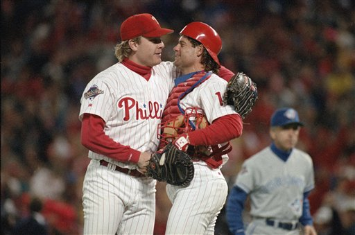 "<div class=""meta image-caption""><div class=""origin-logo origin-image ap""><span>AP</span></div><span class=""caption-text"">Curt Schilling hugs Darren Daulton after the Phillies defeated the Toronto Blue Jays in Game 5 of the World Series Thursday, Oct. 21, 1993 in Philadelphia. (AP Photo/Amy Sancetta) (AP)</span></div>"
