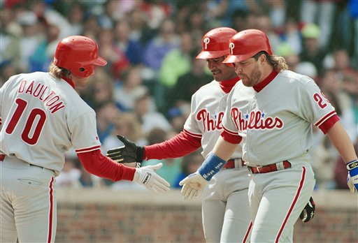 <div class='meta'><div class='origin-logo' data-origin='AP'></div><span class='caption-text' data-credit='AP'>John Krukis congratulated by Darren Daulton after his second two-run home run of the game in Chicago, April 18, 1993. (AP Photo/John Zich)</span></div>