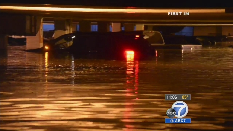 VIDEO: Hundreds of cars parked in flooded UCLA structure