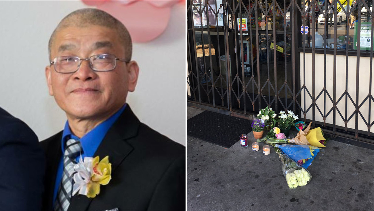 "(Left) Hieu ""Charlie"" Ly and (right) flowers left as a memorial to Ly in San Jose, California, Tuesday, August 8, 2017."