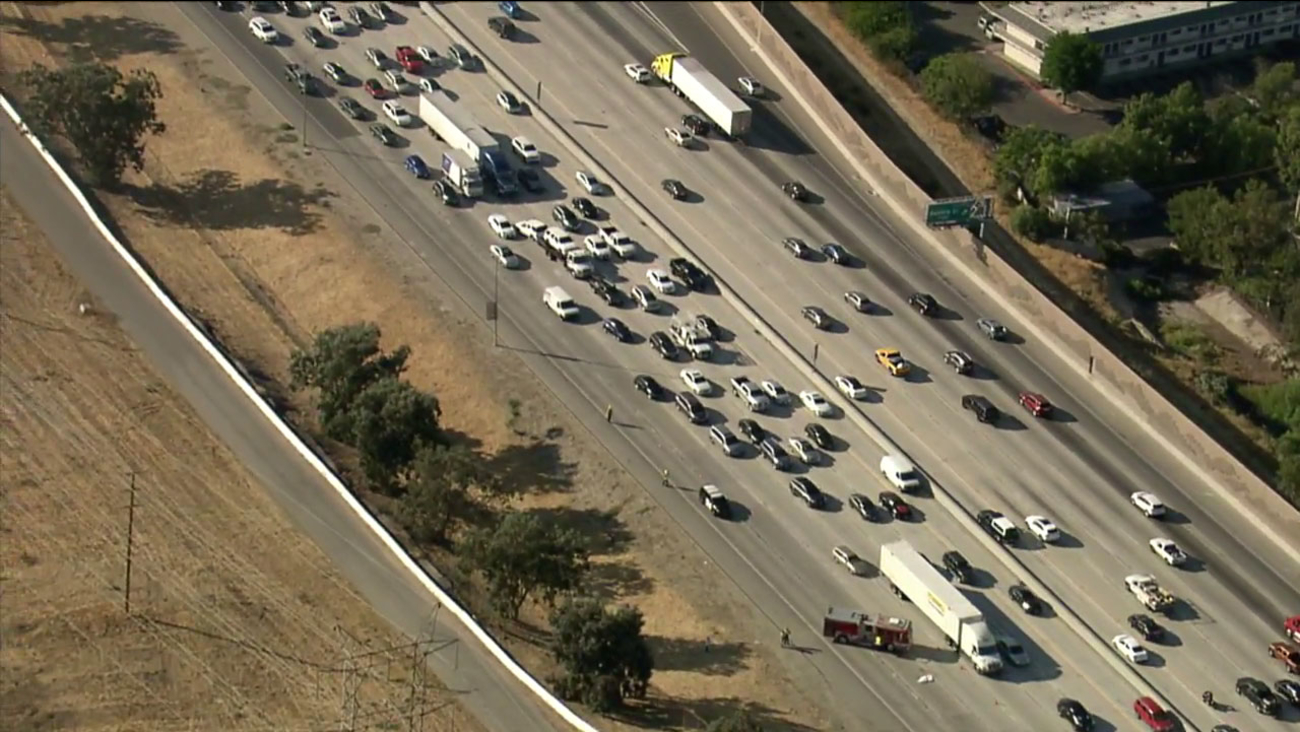 A man was apparently struck and killed by a vehicle on the 5 Freeway in the Newhall Pass on Wednesday, Aug. 9, 2017.