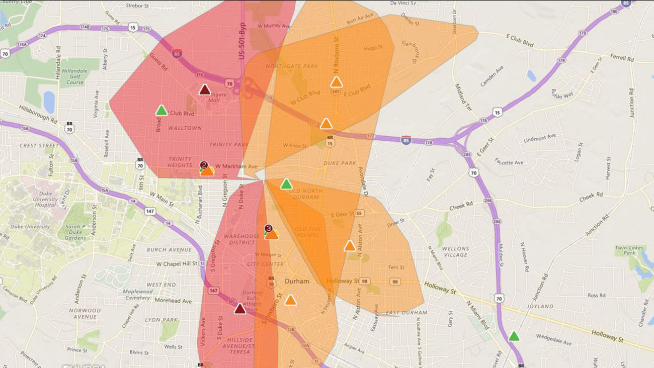 Duke Energy outage map shows power outages in Durham