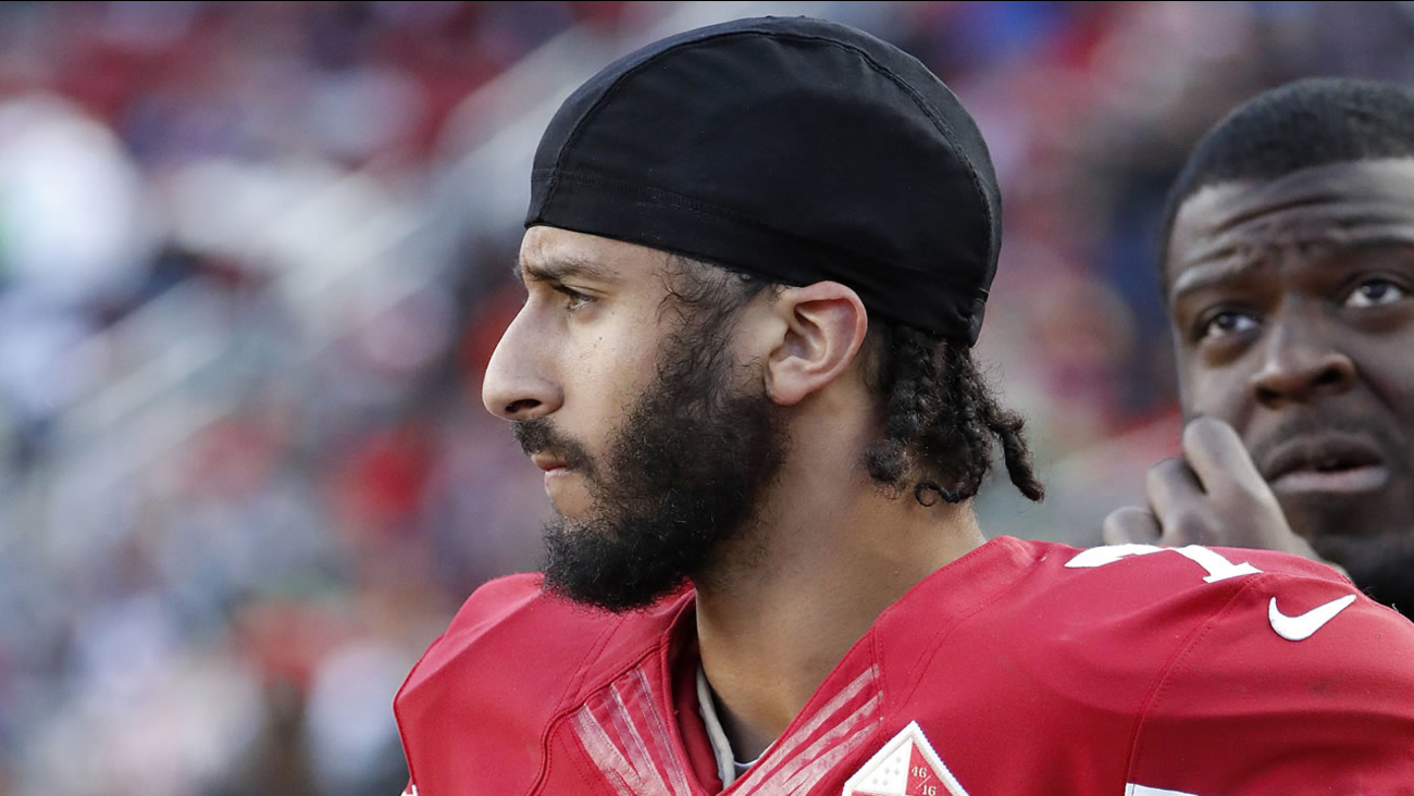 Colin Kaepernick appears in this image during an NFL game in 2016.