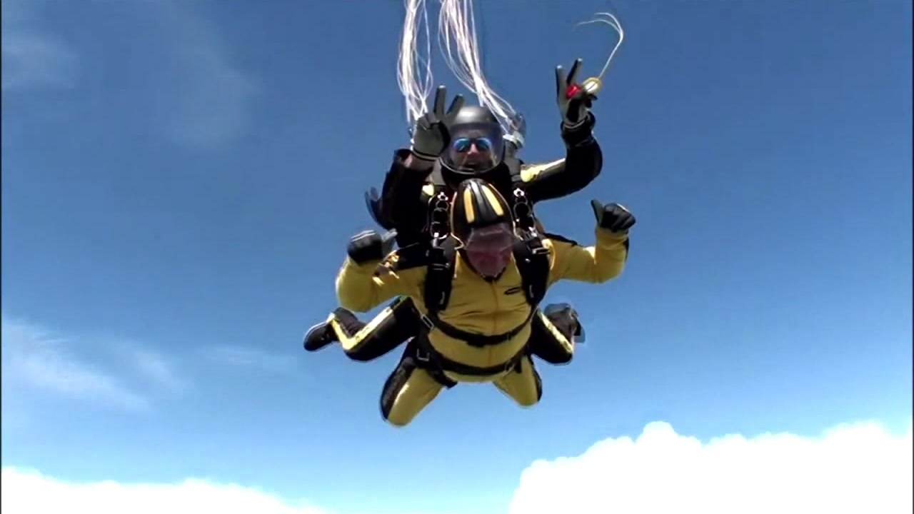 This is an undated image of two men skydiving.