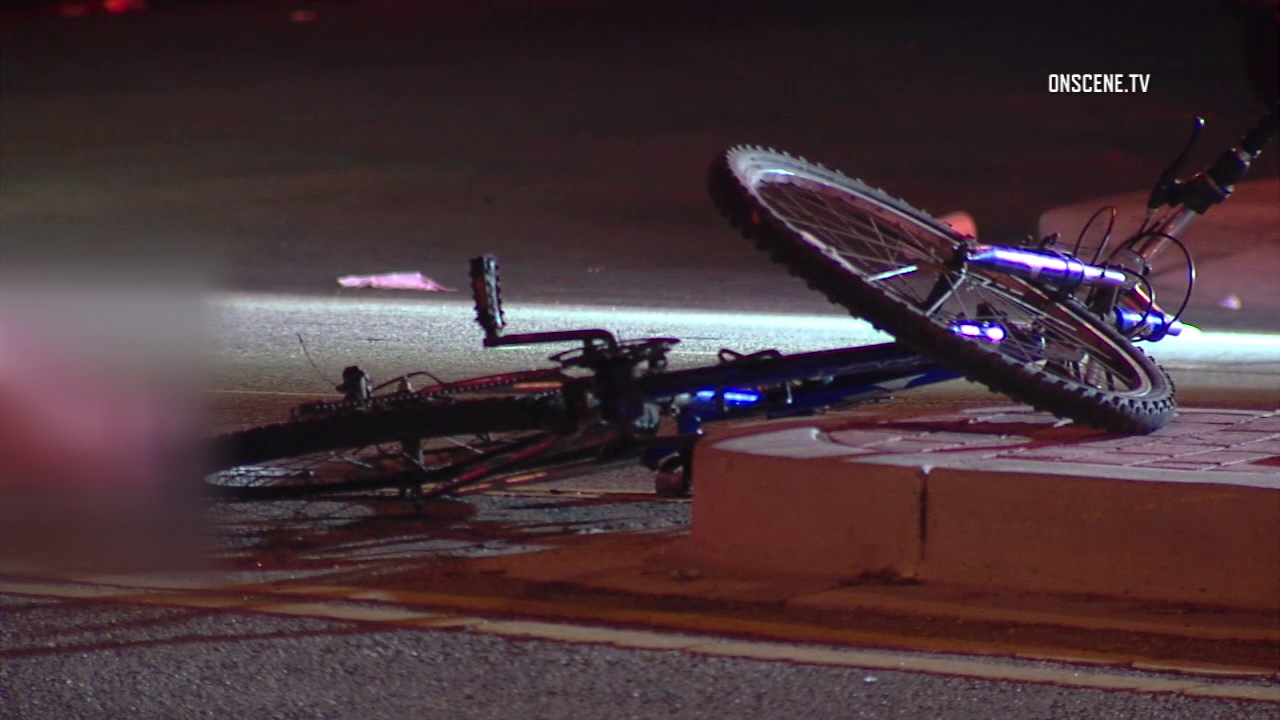 A bicycle is seen at a crash site in South Los Angeles after a man was struck and killed by a hit-and-run driver on Saturday, Aug. 12, 2017.