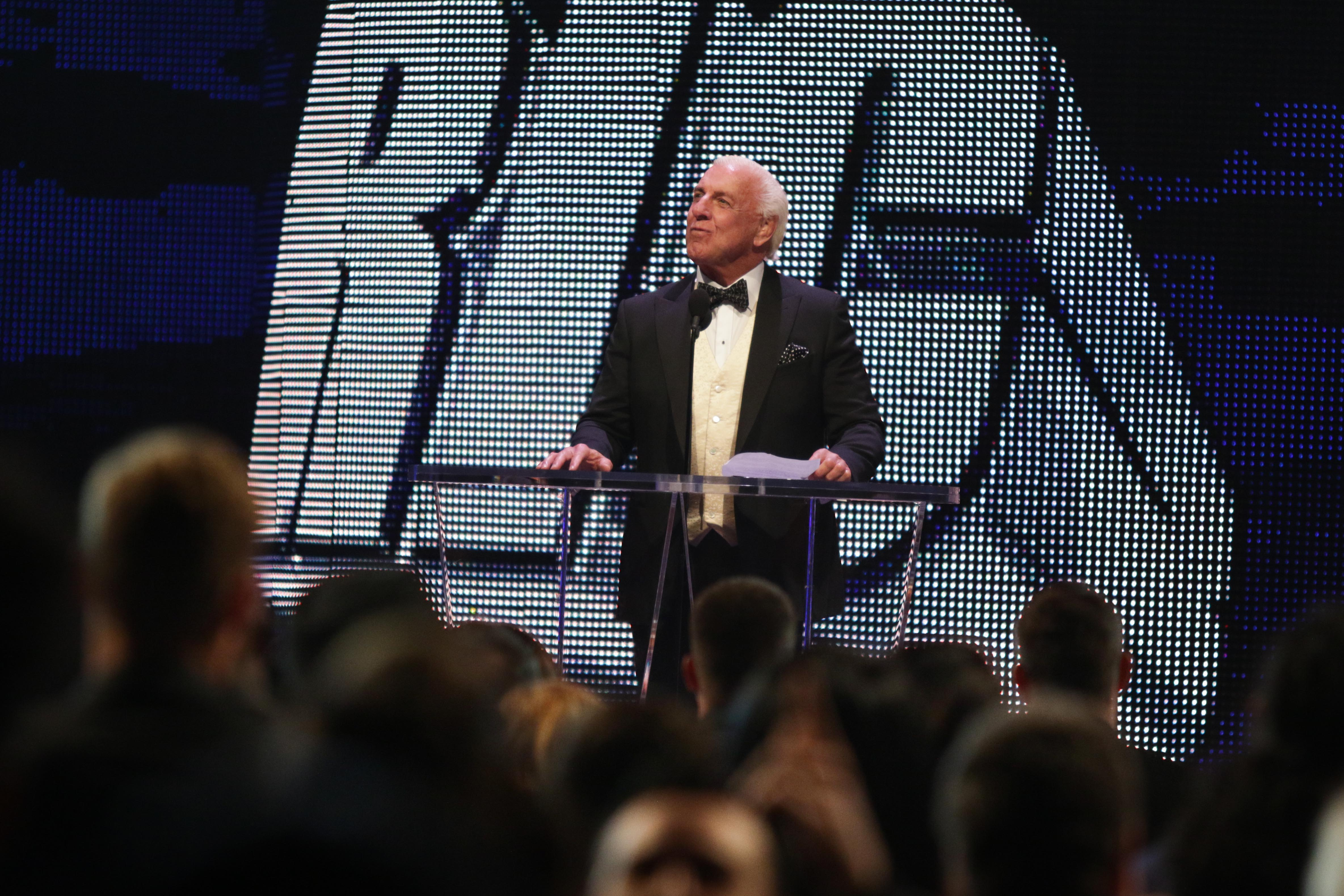 <div class='meta'><div class='origin-logo' data-origin='none'></div><span class='caption-text' data-credit=''>Ric Flair is seen at the WWE Hall of Fame Ceremony, on Saturday, March 28, 2015 in San Jose, CA. (Don Feria/AP Images for WWE)</span></div>