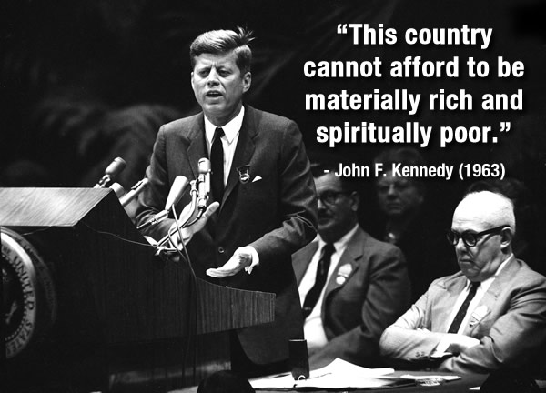 <div class='meta'><div class='origin-logo' data-origin='none'></div><span class='caption-text' data-credit='AP Photo'>President John F. Kennedy addresses delegates to the AFL-CIO convention in New York, Nov. 15, 1963. He told the convention his $11 billion tax cut could <br>result in creation of millions of jobs. The president wears an AFL-CIO delegate's badge presented to him at the convention.</span></div>