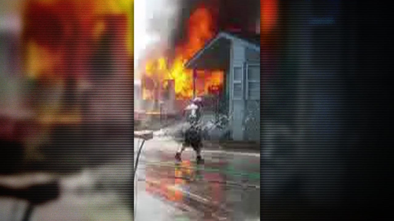 Flames shoot out of a mobile home in San Jose, Calif. on Tuesday, Aug. 15, 2017.